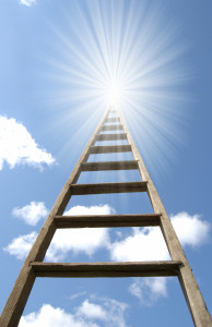 Wooden ladder extending to heaven or a new opportunity.